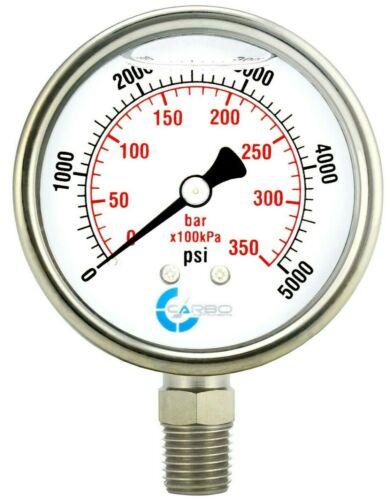 "2-1/2"" Pressure Gauge, ALL STAINLESS STEEL, Liquid Filled, Lower Mnt, 5000 Psi"