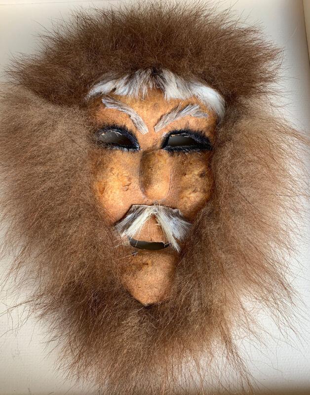 Antique/Vintage Authentic Inuit Hide And Fur Mask Alaska Spirit Mask