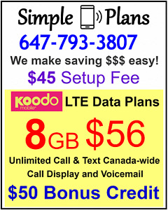 KOODO 8gb $56 LTE data Canada talk text plan + $50 BONUS