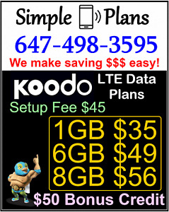 Koodo LTE Data Plans - 1GB 6GB 8GB UNLIMITED Talk and Text