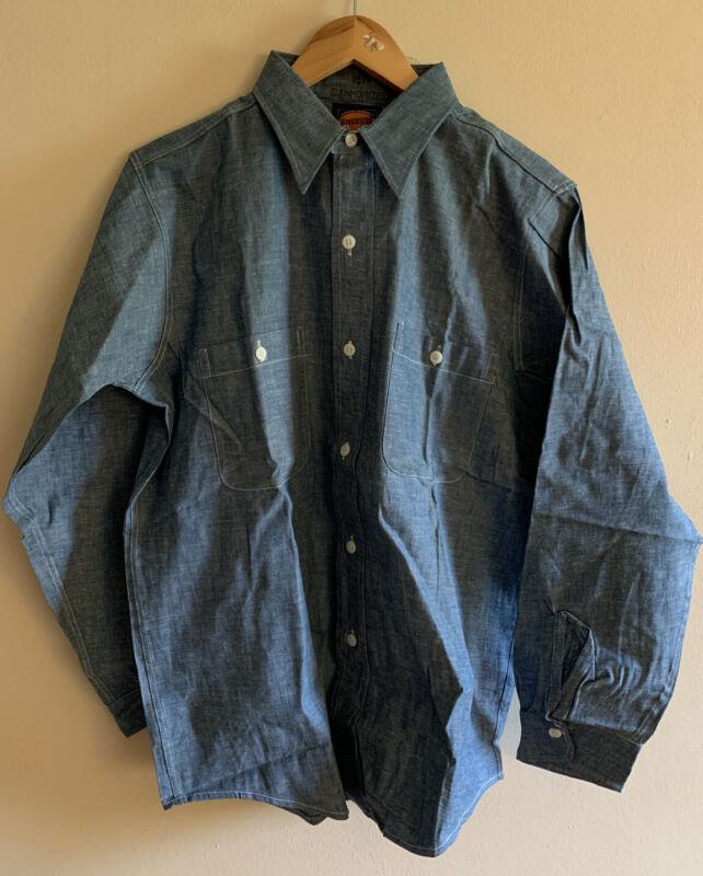 Vintage RIVERSIDE Chambray Sanforized Long Sleeve Blue Work Shirt. Size 15.1/2