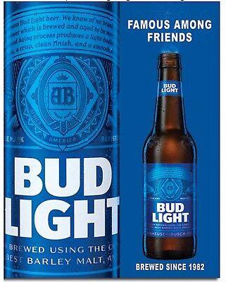Bud Light Bottle Anheuser Busch Budweiser Advertising Wall Decor Metal Tin Sign