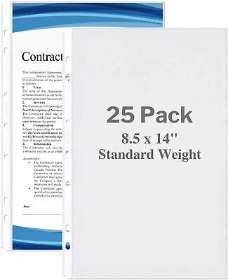 Legal Size Sheet Protector - Standard Weight 25 Pack 8.5x14 Legal Paper Sle