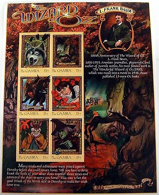 GAMBIA WIZARD OF OZ STAMPS SHEET OF 6 DOROTHY WITCH TIN MAN LION FOREST wizoz on Rummage