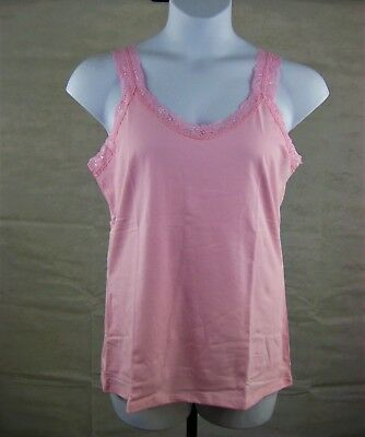 Plus Size Lace Tank Top Cami 1X-5X JMS JUST MY SIZE OJ314 Stretch Cotton Blend