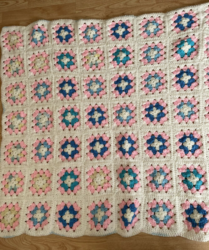 Granny Square Afghan Multicolor Blanket Baby Crib or lap  throw Vintage