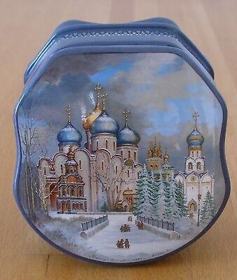 Miniaturmalerei. Handgemalte Dose mit Dreifaltigkeitskloster von Sergiew Possad!