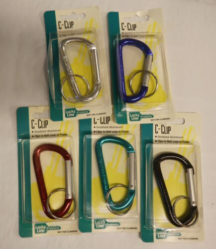 """Lucky Line Belt Key C-Clip 5 Pack Large 3-1/8"""" Carabiner Assorted Colors 46101"""