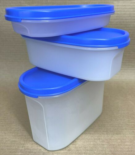 Tupperware Modular Mates Oval Set of 3 (#1/2, 1, 2) Blue New Old Stock