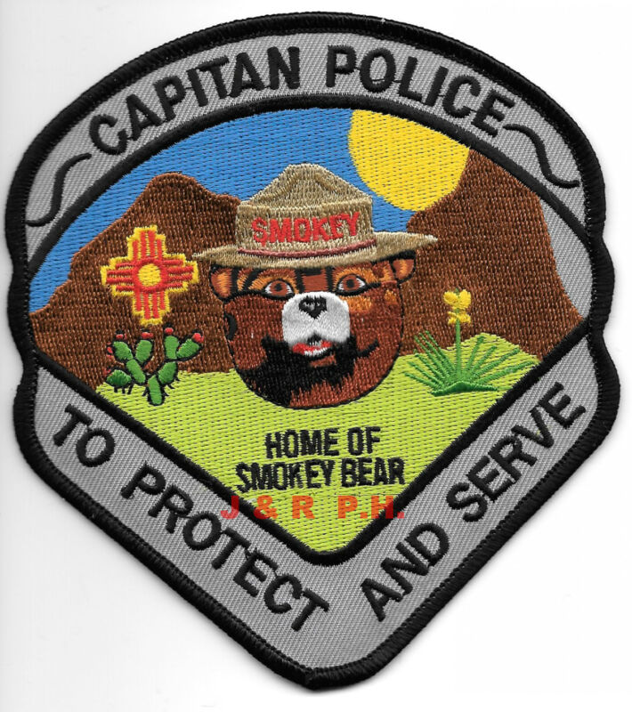 "Capitan, NM ""Home of Smokey Bear"" (4.5"" X 5"" size)  shoulder police patch (fire)"