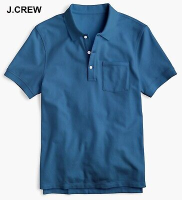 - J.CREW polo shirt pique cotton blue teal cobalt marine pocket collar t-shirt tee