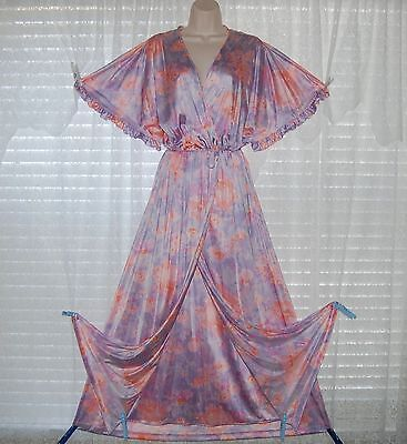 VTG FLORAL VANITY FAIR PEIGNOIR ROBE NIGHTGOWN GOWN NEGLIGEE SET LARGE TALL