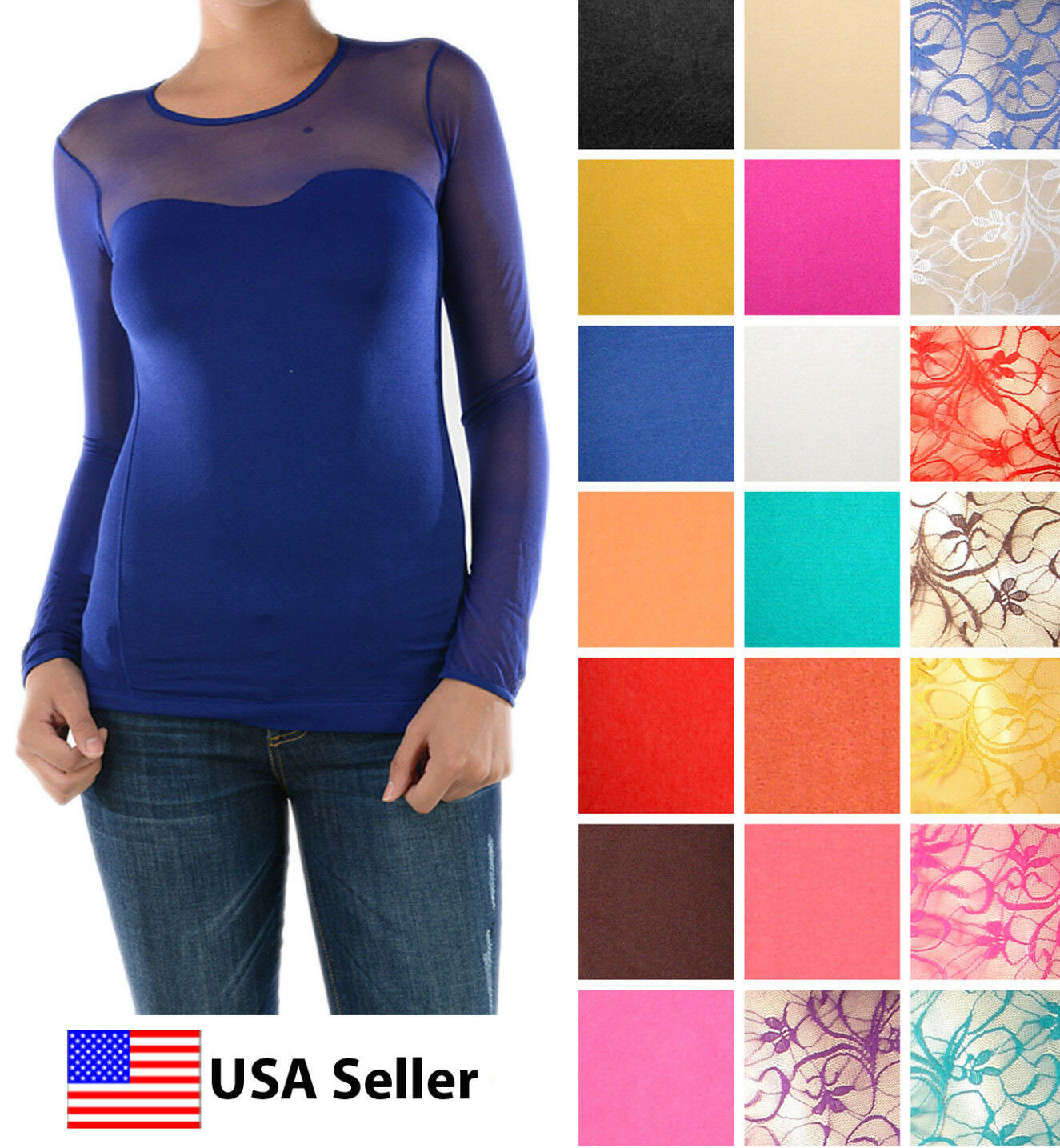 WOMEN SEXY SWEETHEART SEAMLESS SHEER LONG SLEEVE MESH NECKLINE BLOUSE TOP SHIRT Clothing, Shoes & Accessories