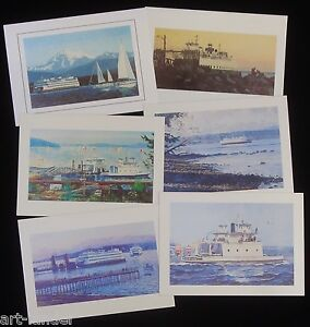 6-WA-Ferry-Boats-Anacortes-Kingston-Edmonds-Blank-Note-Cards-Marshall-Johnson