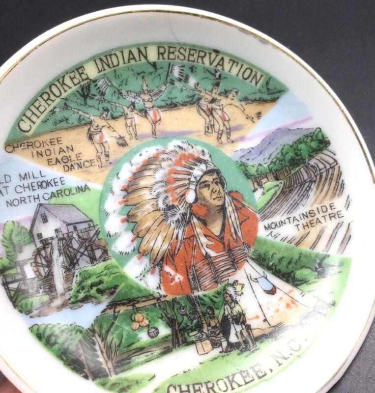 Vtg Cherokee Indian Reservation NC Souvenir Mini Plate Saucer Eagle Dance Chief