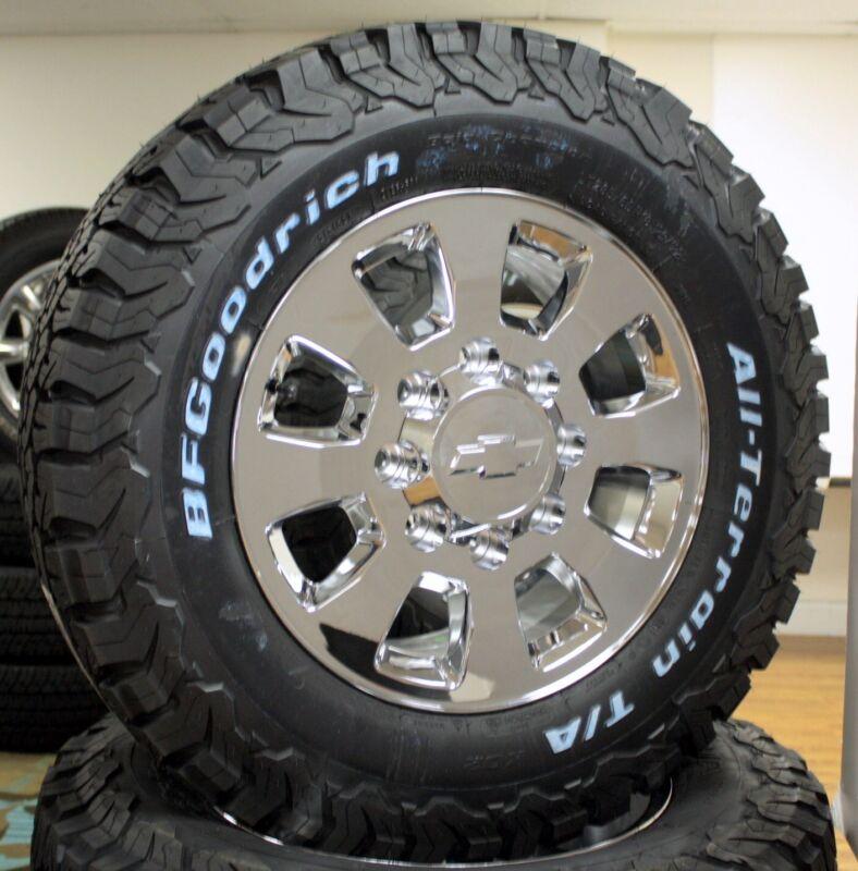 """2001-2010 Chevy Silverado Hd 2500 8 Lug 18"""" Chrome Wheels Rims Tires Lug Nuts"""