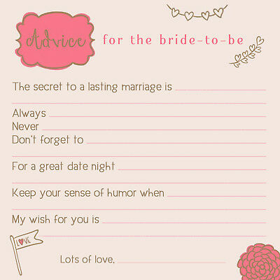 (24) MARRIAGE ADVICE CARDS! Bridal Shower Games, Bride & Groom Wedding](Wedding Shower Game)