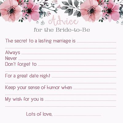 Advice Cards for The BRIDE! Marriage Wedding Bridal Shower Games 25 Well Wishes!