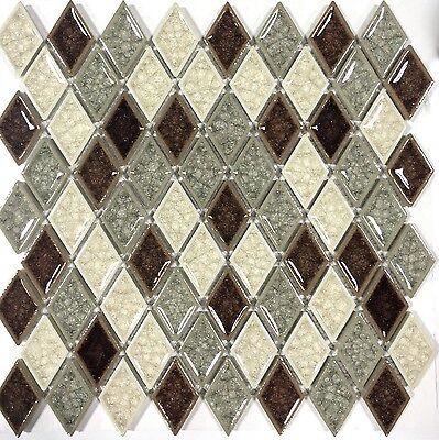 Beige Crackle Finish - Diamond Crackled Finish Glass Multi Color Mosaic Tile Kitchen Backsplash Wall