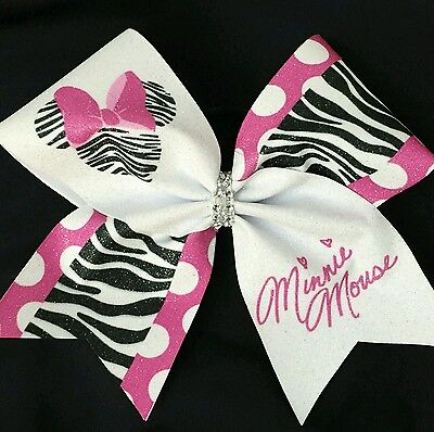 Cheer Bow - Minnie Mouse Zebra Print Glitter - Disney -  Hair Bows - Minnie Mouse Cheer Bow