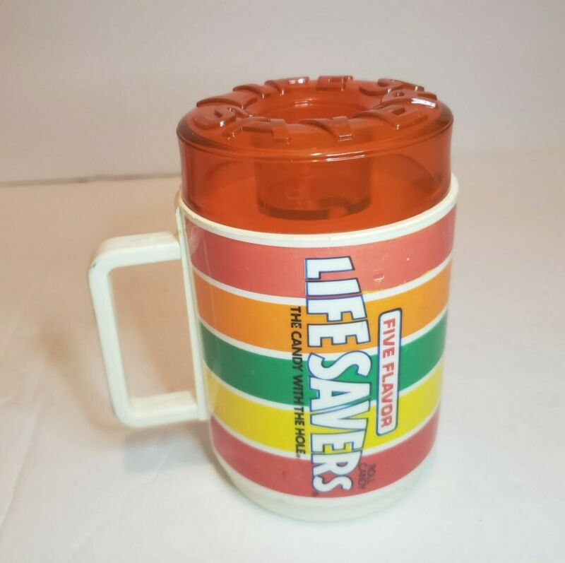 Vintage Deka Plastic Life Savers Coffee Mug Sippy Cup Drink Glass Red Cherry Lid