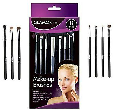 New 8 Pack Glamorize Make Up Brush Set  Brushes Eye Shadow Blusher Brow