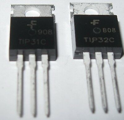 1 X Tip32c Tip32 Pnp And 1x Tip31c Npn Transistors 3a 100v To-220 Us Seller