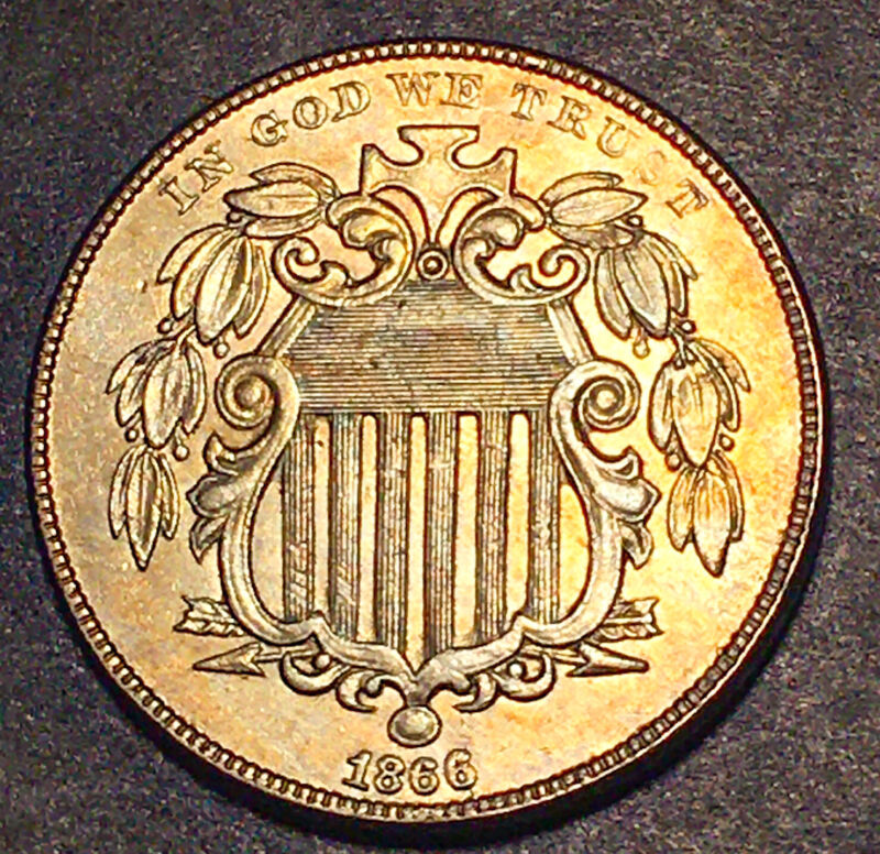 1866 Shield Nickel 5c Rays Better Date UNC Toned High Grade Type Coin Die Cracks