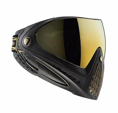 Dye Invision I4 Black/Gold Paintball Goggle System Mask Thermal Clear Lens -