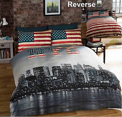 Bedding Heaven REVERSIBLE NEW YORK CITY SKYLINE/AMERICAN FLAG DUVET COVER SET