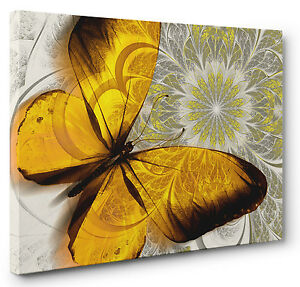 Abstract-Canvas-Print-Floral-Butterfly-Yellow-Grey-Wall-Art-Picture-Large-Small