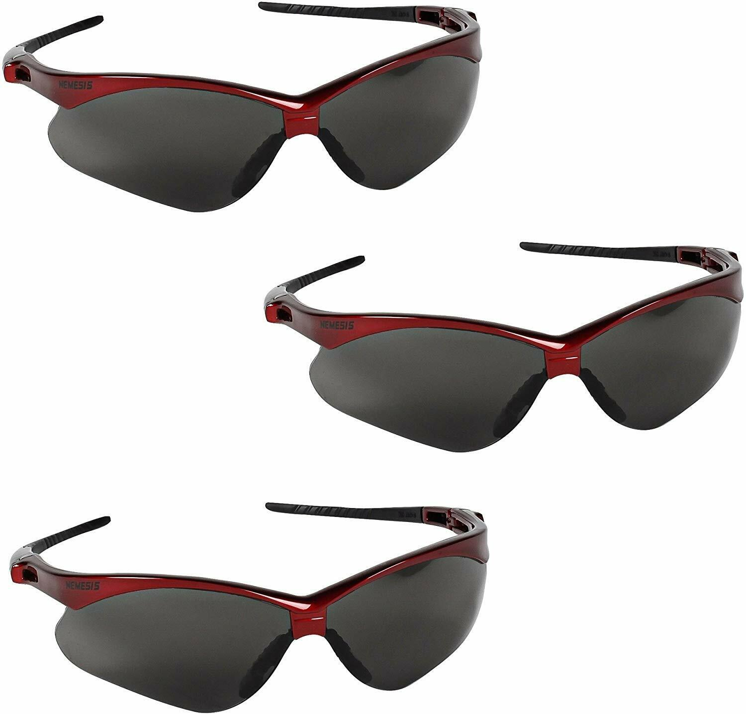Jackson Safety 22611 Nemesis Safety Glasses 3 Pair Inferno Red Frame Smoke Lens Business & Industrial