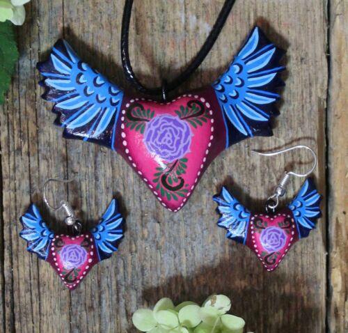 Winged Heart Necklace & Earrings Handmade & Hand Painted Puebla Mexican Folk Art