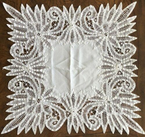Vintage Large Battenburg Lace Doily Table Topper Centerpiece Off White