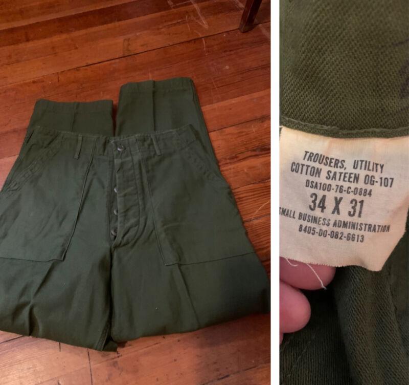 Vtg 60s Button Fly OG 107 Olive Green Baker Pants Sateen Utility 34 X31 military