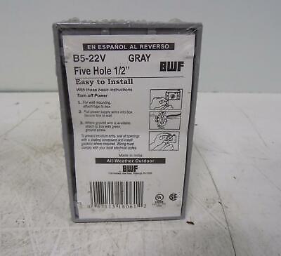 Bwf Five Hole 12 Gray Electrical Outlet Box B5-22v Nib