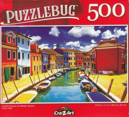 Puzzlebug 500 Piece Jigsaw Puzzle ~Colorful Houses and Boats, Burano Canal Italy