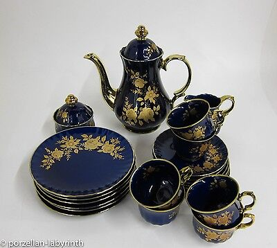 Kaffeeservice 6 PersonenWunsiedel Bavaria Porzellan Echt Kobalt Gold Kanne
