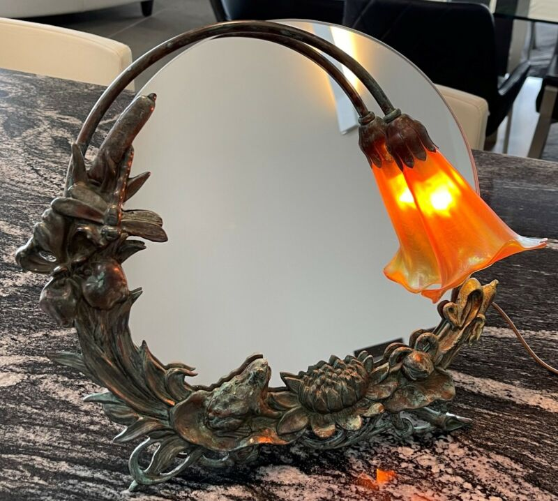 "Bronze Art Nouveau ""frog"" mirror table lamp with Calla-lily art glass shade"