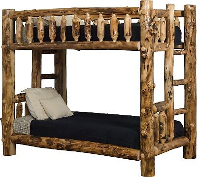 Aspen Log Furniture - Rustic Aspen Log Mission Style Bunk Beds - Queen over Queen - Amish Made in USA