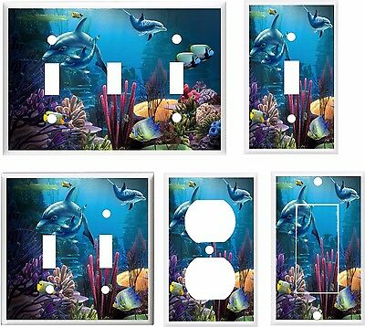 DOLPHIN FAMILY TROPICAL FISH LIGHT SWITCH COVER PLATE  K1  U PICK PLATE SIZE