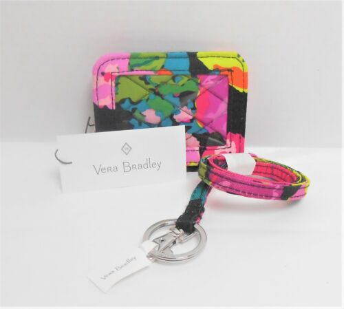Vera Bradley HILO MEADOW Campus Double ID Snap Closure & Matching Lanyard