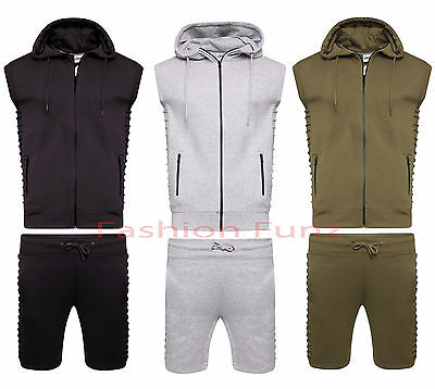 Mens Ribbed Jogging Running Set Lined Hood Two Piece Zipper