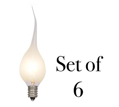 6 Watt Large Silicone Dipped Light Bulbs Candelabra Socket - Set of 6