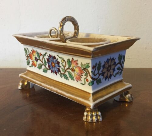 Antique 19th c. French Empire Old Paris Porcelain Inkwell Encrier Ink Well Stand