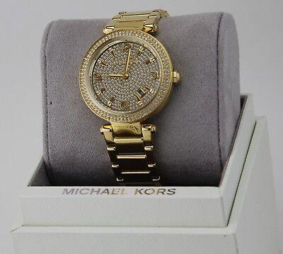 NEW AUTHENTIC MICHAEL KORS PARKER DARCI GOLD CRYSTALS WOMEN'S MK6510 WATCH