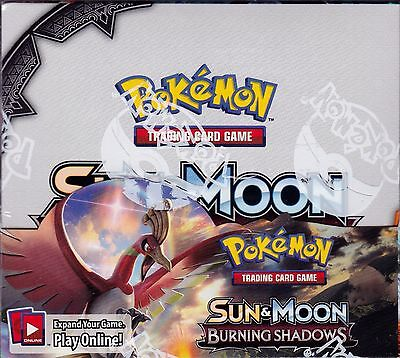 Pokemon Sun and Moon Burning Shadows sealed booster box 36 packs of 10 cards