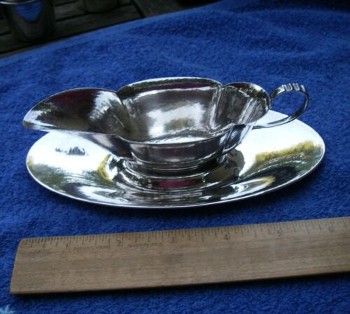 Unusual GORHAM Sterling Hammered Small BUTTER BOAT & TRAY-dated 1914-15-No Mono