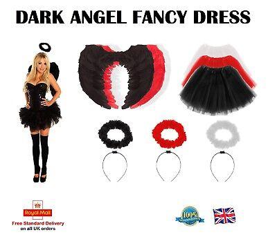 FAIRY COSTUME Feather Wings Halo Tutu Ladies Adult DARK ANGEL Fancy Dress lot