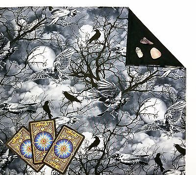 "Raven Sky Lined Tarot Cloth or Altar Cloth 18"" x 20"" Runes"